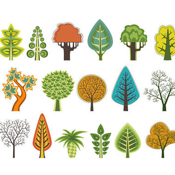 Tree Clipart , Digital Design, Autumn, Tree Clip Art, Autumn Clipart, Trees Clipart, Scrapbooking Supplies, Forest Clipart Set