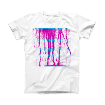 The Running Blue and Pink WaterColor Paint ink-Fuzed Front Spot Graphic Unisex Soft-Fitted Tee Shirt