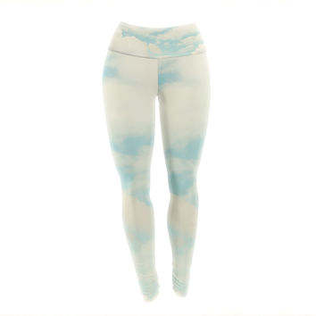 "Sylvia Cook ""Clouds"" Blue White Yoga Leggings"