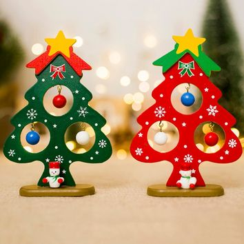 Christmas Tree Small Ornament Mini Painted Christmas Tree Decorations Christmas Wooden Card New Year's Decorations For Home