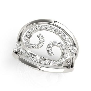 Swirl Design Diamond Ring in 14K White Gold (1 2 ct. tw. 6a96141a95