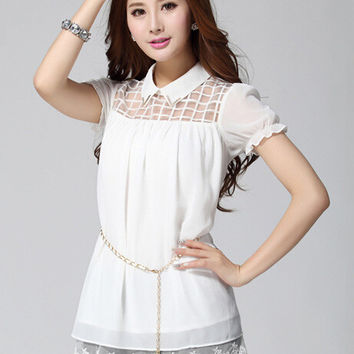 Puff Sleeve Plaid Mesh Embroidered Chiffon Pointed Flat Collar Chained Top with Lace Accent