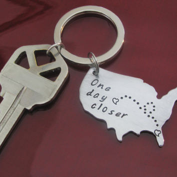 USA KEY CHAIN Long Distance Love Relationship with Custom Saying Hearts on both cities Aluminum  Hand Stamped Key Chain