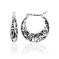 Sterling Silver Bali-Inspired Filigree Round Hoop Earrings