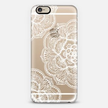 Chalk White Medallions on Transparent iPhone 6 case by Micklyn Le Feuvre | Casetify
