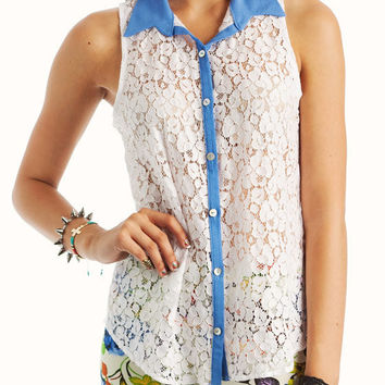 lace-collared-top WHITEBLUE - GoJane.com