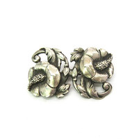 Sterling Silver Flower Brooch Double Hibiscus Leaf Scrolls Nordic Style Designer Signed Viking Craft Vintage 1940s American Tropical Jewelry