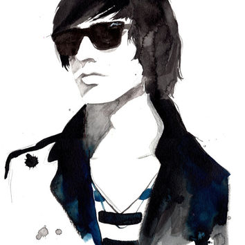 Print from original watercolor and pen illustration by Jessica Durrant titled Julian