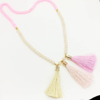 Pink Tassel Long Necklace