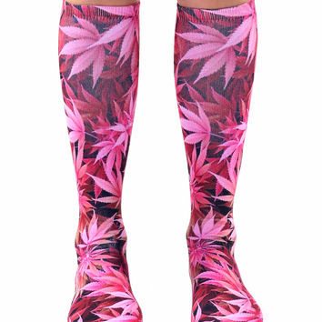 Pink Weed Knee High Socks