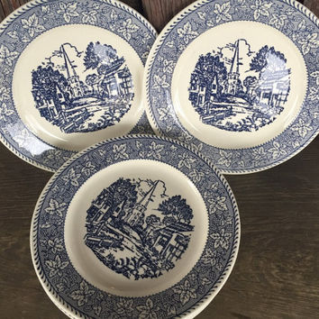 vintage Homer Laughlin Shakespeare country blue leaves dessert/ pie plates stratwood collection, Mid Century blue and white transferware
