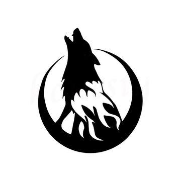 Moon and Howling Wolf Car Stickers Wall Home Glass Window Door Laptop Auto Truck Vinyl Decal Decor Black 11.5cmX13.7cm
