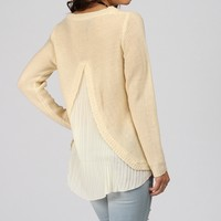 Sale-ivory Pleated Back Sweater