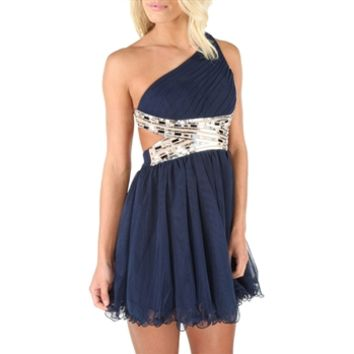 Blondie Nites Juniors One-Shoulder Embellished Ruffled Dress at Von Maur