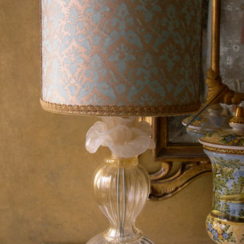 Authentic Italian Murano Ivory Rose Flower Hand Blown Glass Table Lamp with Fortuny Fabric Lamp Shade - Made in Venice