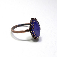 Water Sapphire Marquise Copper Ring, Rustic Wire Wrapped Ring