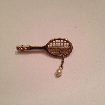 Vintage Tennis Brooch Avon Gold Pearl Tennis Raquet Ball Pin Costume Jewelry