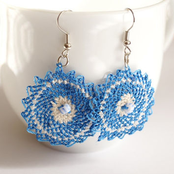 Blue Flower Needle work Earrings