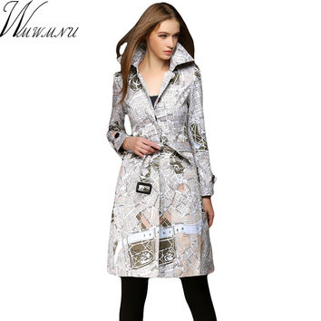 Wmwmnu 2017new Brand Autumn Winter Women's tie waist Turn-down Collar Plaid Slim newspaper printed Trench Coat with Sashes 393a