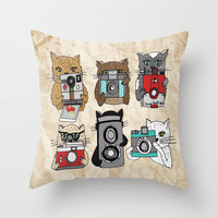 Cats Love Cameras Throw Pillow by Andrea Lauren