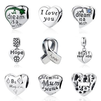 Authentic Original 100% 925 Sterling Silver Love Heart Hope Ribbon DIY Beads Charms Fit Pandora Bracelets Bangles Jewelry