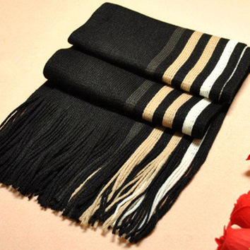 Winter Knitted Scarf Man Hot Sale Unilateral Striped Knit Scarves Men Show Charm Desigual Warm Scarf Shawls Gift Lovers NWJ003
