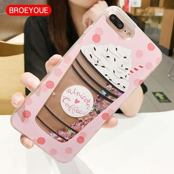BROEYOUE Quicksand Cover Case For iPhone 5 5S SE Dynamic Glitter Liquid Drink Bottle Case For iPhone 6 6S 6Plus 7 7 Plus Capa