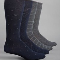 Calvin Klein Men's Classic Pattern Dress Socks 4-Pack, Black, Large