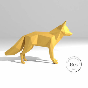 Printable DIY template (PDF).  Fox low poly paper model. 3D paper trophy. Origami.