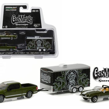 "2015 Ford F-150 Green and 1968 Shelby GT500KR Convertible Green with Enclosed Car Hauler ""Gas Monkey Garage"" (2012-Current TV Series) 1-64 Diecast Model Cars by Greenlight"