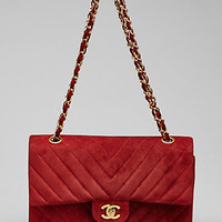 Some of you have to get in on this: Chanel Red Quilted Suede Chevron Medium Flap Bag