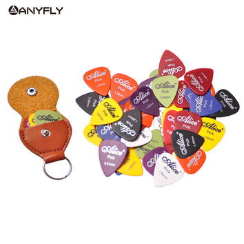 Assorted Thickness Color 20pcs Guitar Picks Alice Matte Acoustic Electric Picks+1 Leather Key Chain Guitar Picks Holder bag Case