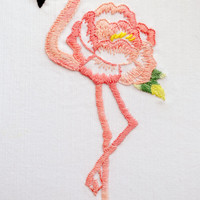 Floral flamingo hand embroidery pattern NaiveNeedle