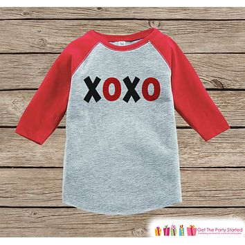 Kids Valentines Outfit - XOXO Valentine's Day Shirt or Onepiece - Valentine's Shirt for Boy or Girl - Baby Toddler Youth - Red & Black Top