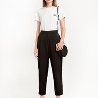 Black High Waist Peg Trousers
