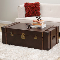 Journey Vintage Tobacco Leather Trunk Coffee Table | Overstock.com