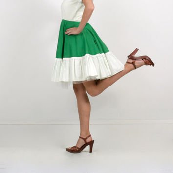 Vintage Dress in Green and White 1970s Square Dance style