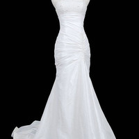 Trumpet/mermaid Strapless Chapel Train taffeta Wedding Dress