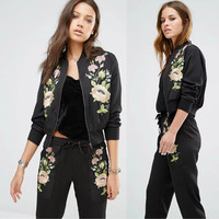 Black Long Sleeve Floral Embroidered Zip Up Bomber Jacket