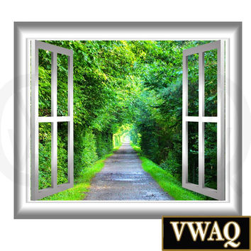 3D Wall Art Green Tunnel Decal Trees Window Frame Peel & Stick Easy to Apply Home Décor Wall Mural NW32