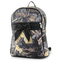 LarLar Oliff Quilted Real Tree Camo Print Medium Backpack (Black)
