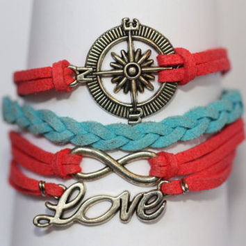 FOLLOW~ Compass Infinity Love Bracelet Coral and  Teal Blue Turquoise Nautical Sailor Bracelet Boot Camp Military Gift ilovecheesygrits