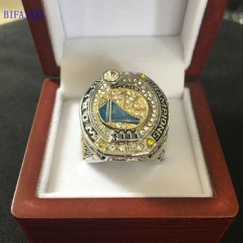 BIFAJAJA Drop Shipping 2017 Golden State Warriors National Basketball Championship Ring Size Big  11 Men Sports Jewelry