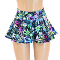 Northern Lights Pot Print Mini Skater Rave Skirt