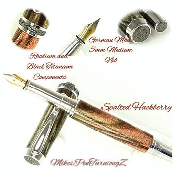 Custom Wooden Pen Fountain Pen Beautiful Spalted Hackberry Stabilized and Dyed Red and Blue Rhodium and Black Titanium Hardware 792FPA