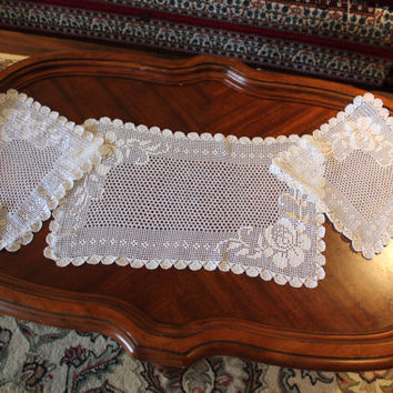 Brand NEW Crochet LIGHT Ivory, Lace 3 PIECES Set, Square & Rectangle Crochet Doily, Crochet Lace Doily, Ecru Doily, Ready to ship