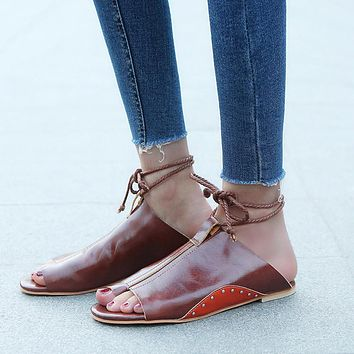 Women Flat-Bottomed Roman Sandals Open Ankle Flat Straps