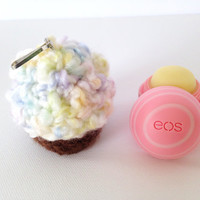 Dreampuff Cupcake EOS Lip Balm Cozy/Holder with Split Ring and  Clasp