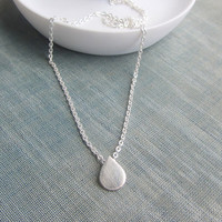 Tiny drop simple delicate sterling silver necklace - everyday jewelry gift for her