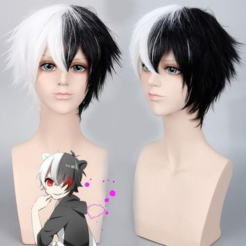 Danganronpa Monokuma Fluffy Short Cosplay Wig Men Two Tone Synthetic Anime Hair Halloween Costume Black White Ombre Wigs 35cm